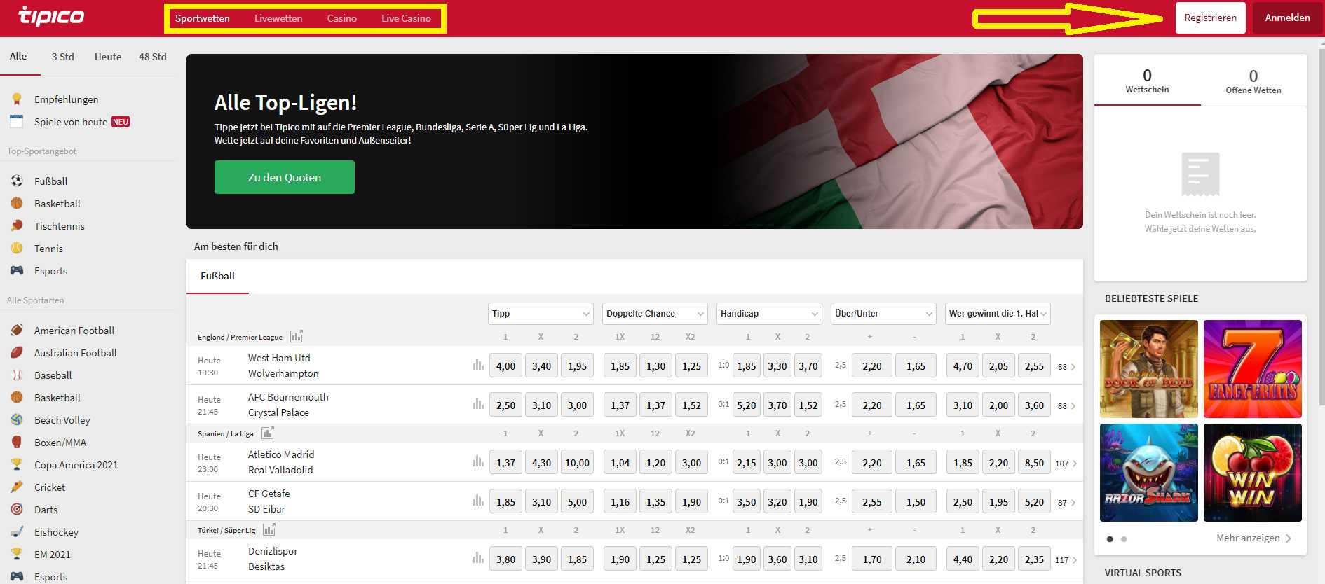 Tipico einloggen und online Wetten genießen